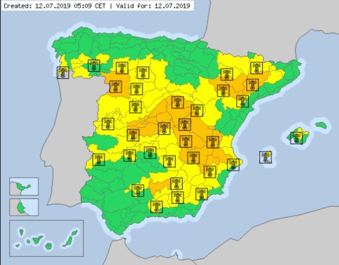 Ostrzeżenia meteorologiczne dla Hiszpanii na piątek (meteoalarm.eu)