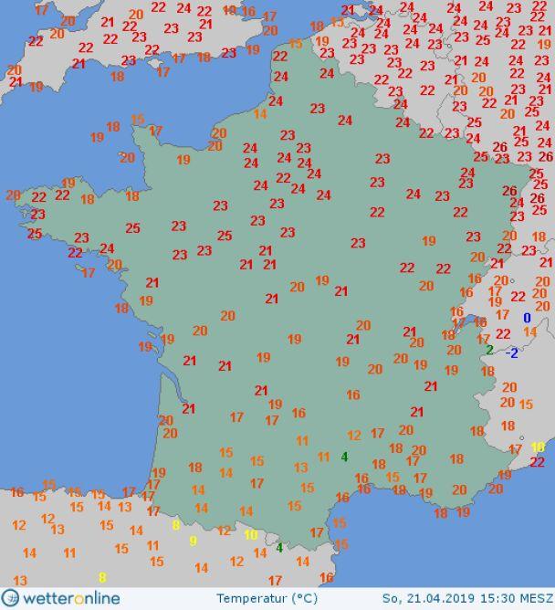 Temperatura powietrza we Francji w Niedzielę Wielkanocną o godzinie 15.30 (wetteronline.de)
