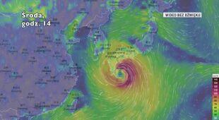 Porywy wiatru podczas burzy tropikalnej Krosa (Ventusky.com) | wideo bez dźwięku